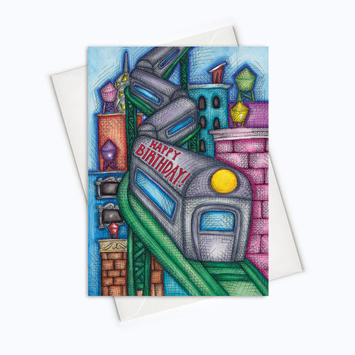 BIRTHDAY TRAIN CARD - City Birthday Card