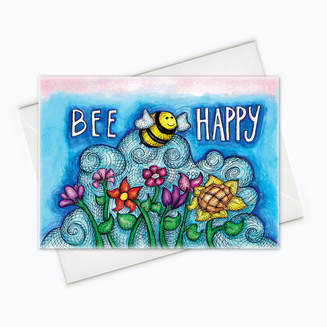 Bee Happy Love Card Cute Friendship Card