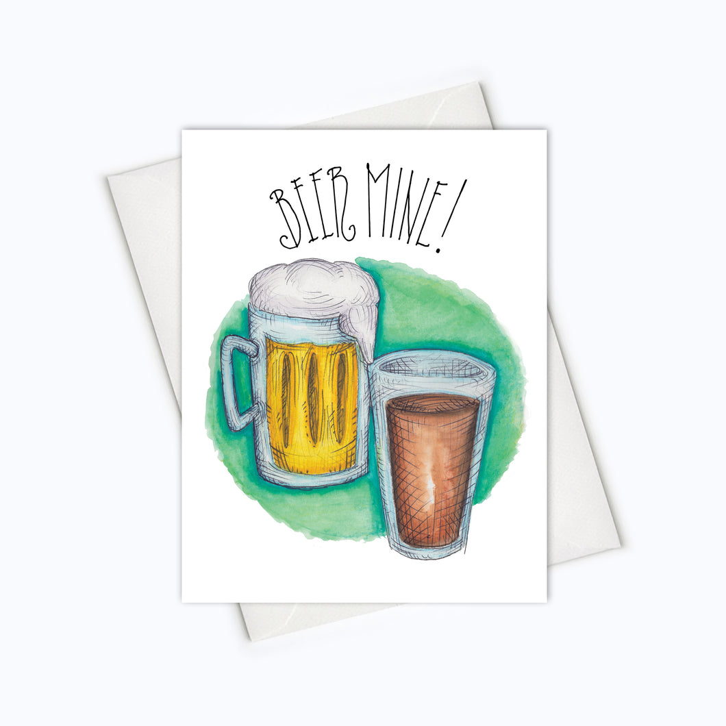 Beer Mine Funny beer art card valentines stationery love greeting card