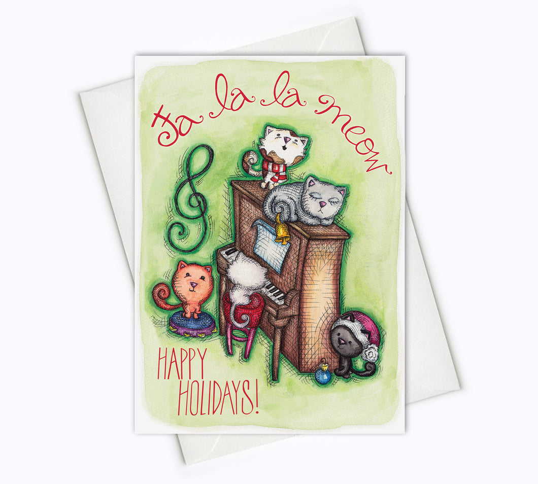 CAT HOLIDAY CARD - Fa la la Meow