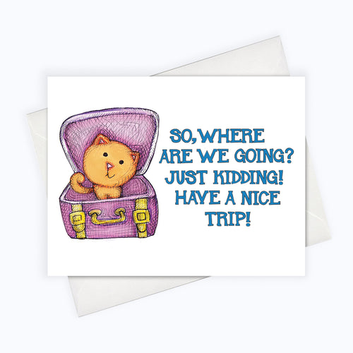 Funny Cat Card Funny Greeting Card Vacation Card Cat Farewell Card