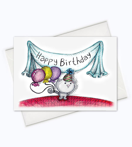 CAT BIRTHDAY CARD - Cat Birthday Greeting Card
