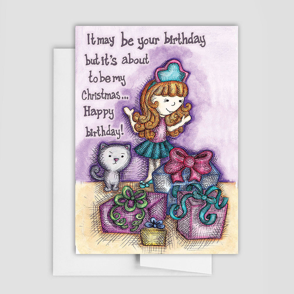 BIRTHDAY CARD - Cat in a Box Birthday Greeting Card