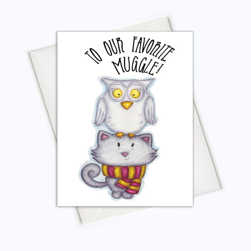 PAWTER CATS CARDS - Favorite Muggle Card - Birthday Card for Cat Loving Muggles