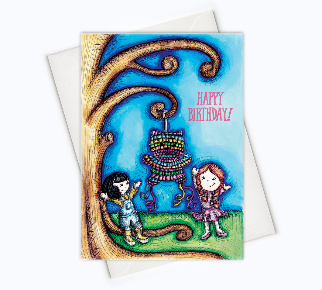 CAT BIRTHDAY CARD - Cat Piñata Birthday Greeting Card