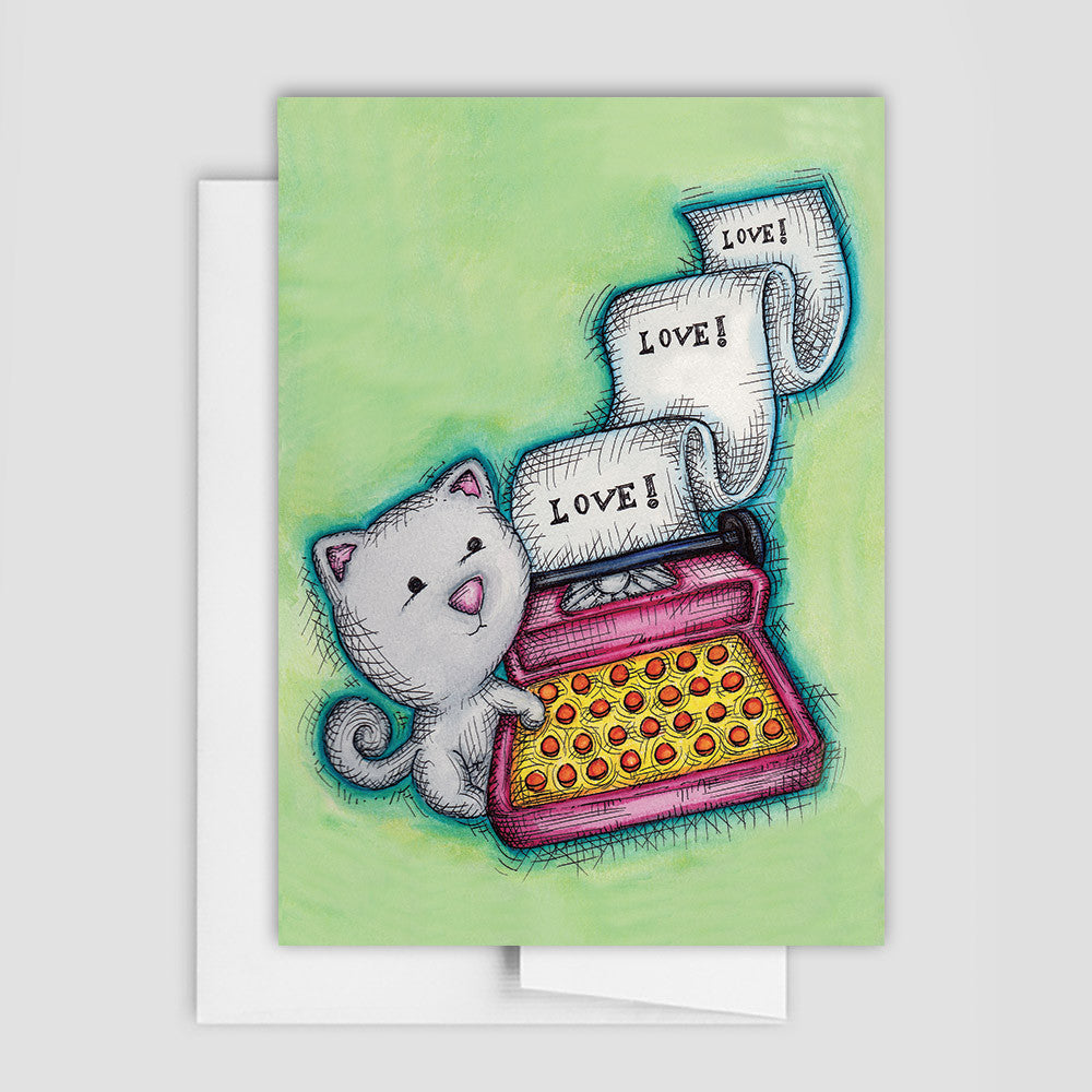 CAT LOVE CARD - Love Note Cat Card
