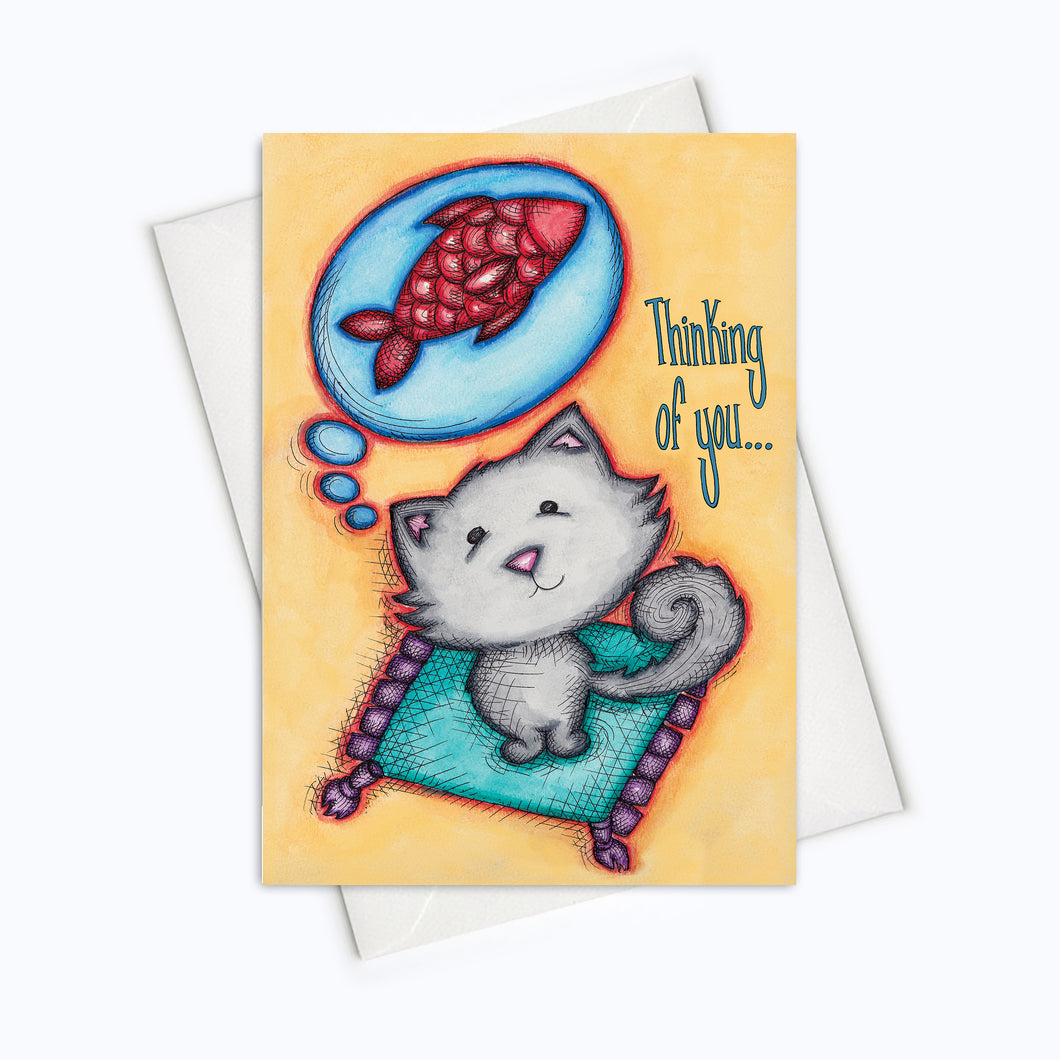 THINKING OF YOU Cat Card | I Miss You Card | Thinking Of You Card | Love Stationery | Cat Lover Greeting Card | Cute Cat Card | Cat Love Card