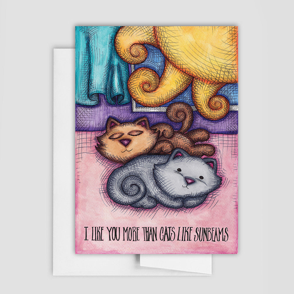 CAT LOVES SUNBEAM Cat Card - Love Card