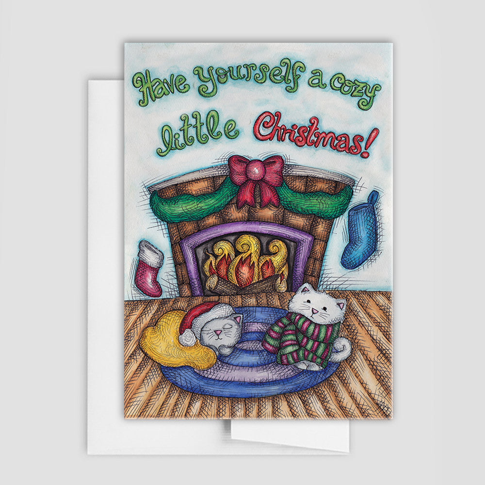 Cozy Cats Holiday Card Cat Holiday Cards Christmas for Cat Lovers