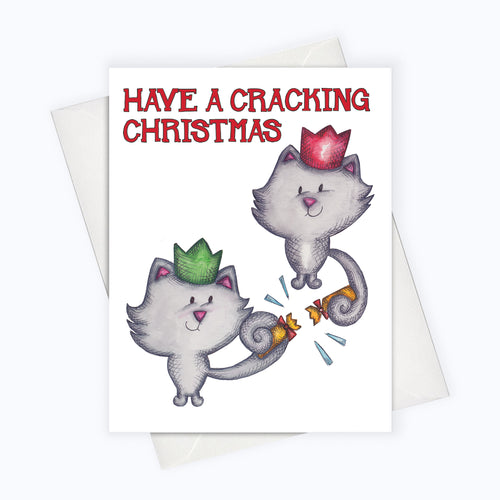 CAT HOLIDAY CARD | Christmas Crackers Card | Cat Holiday Greeting Card | Holiday Stationery | Christmas Card | Cat Lovers | Boxing Day