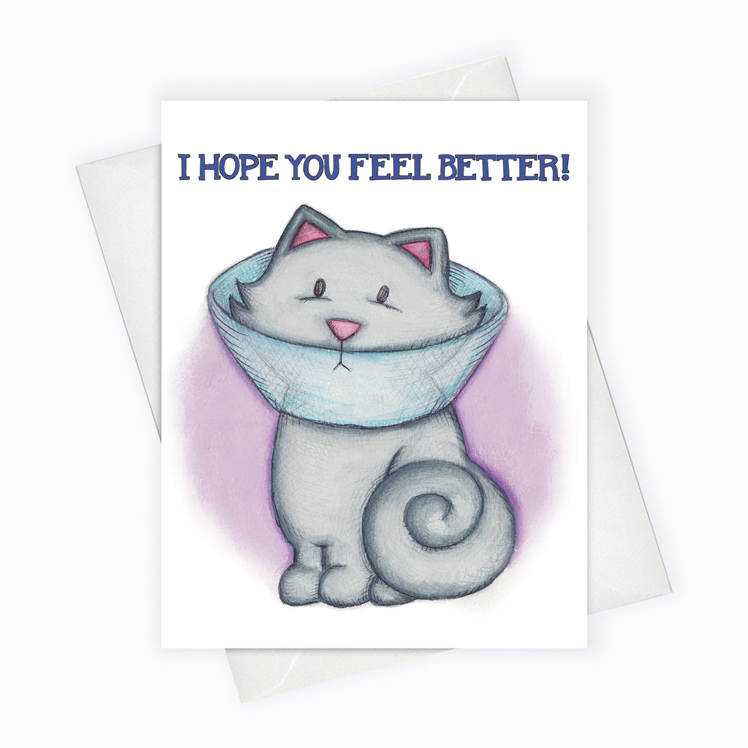 Feel better Cat Greeting Card Cone of shame illustration