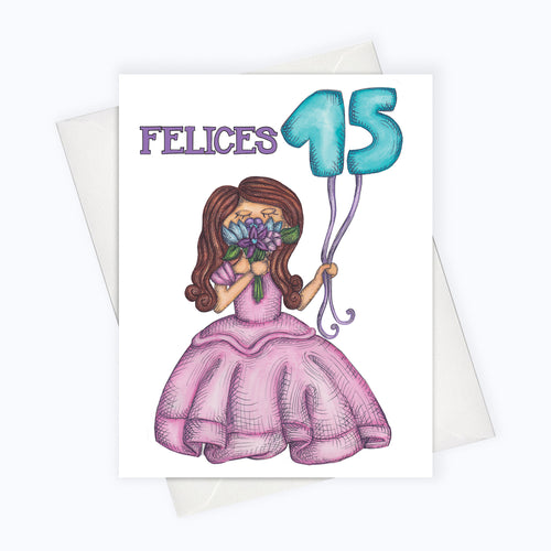 Felices quince quinceanera card quinceanera greeting card latinx stationery latina power card