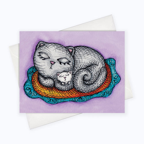 CAT & KITTENS CARD - Cat Mother's Day Card / Baby Card