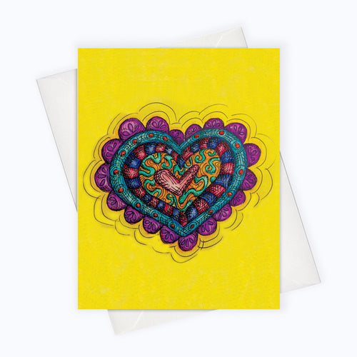 colorful heart card hippie heart card britto inspired heart card