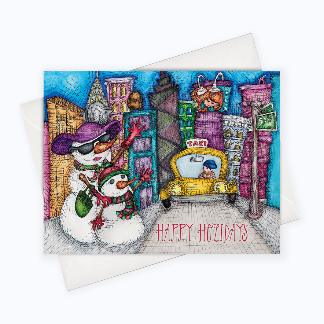 TAXI HOLIDAY CARD | City Holiday Greeting Card | Holiday Stationery | Christmas Card | Snowman Card