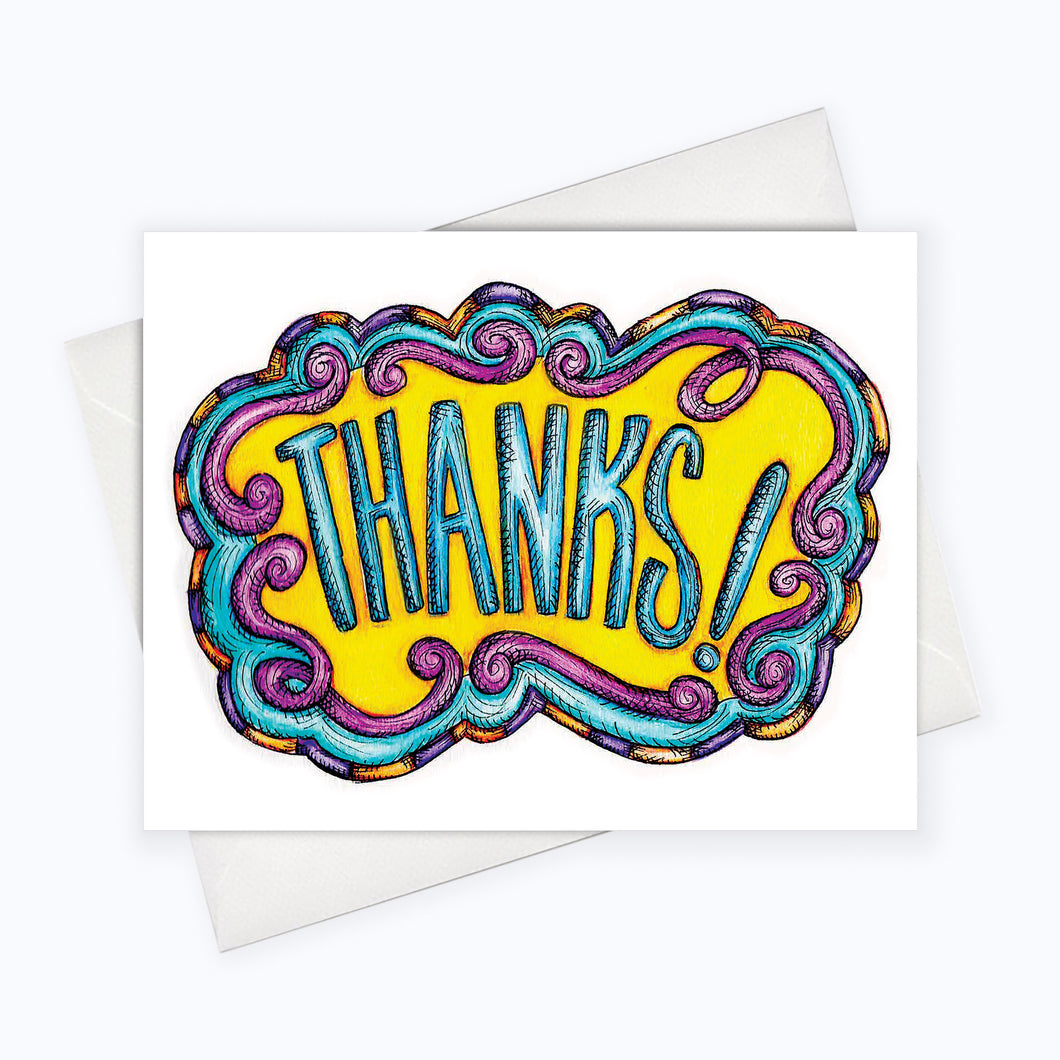 Colorful blank thank you card and thank you note