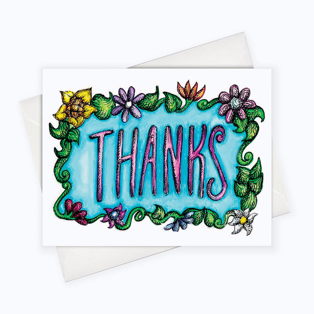 Thank you card, card you note, thank you stationery, floral card, floral thank you card