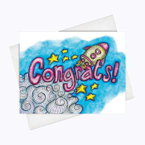 Congrats rocket card congratulations greeting card