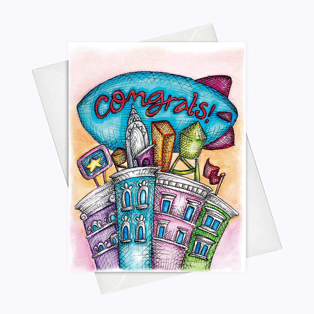 Zeppellin congratulations greeting card sky is the limit card