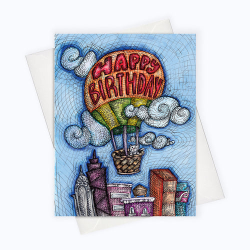 CITY CAT BIRTHDAY CARD - Hot Air Balloon Birthday Card