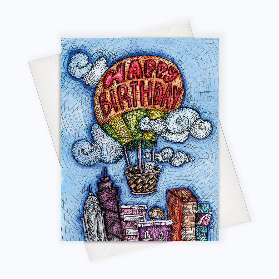 CITY CAT BIRTHDAY Greeting Card | Hot Air Balloon Birthday Card | Skyline Birthday Card | Birthday Stationery | Happy Birthday Greeting Card