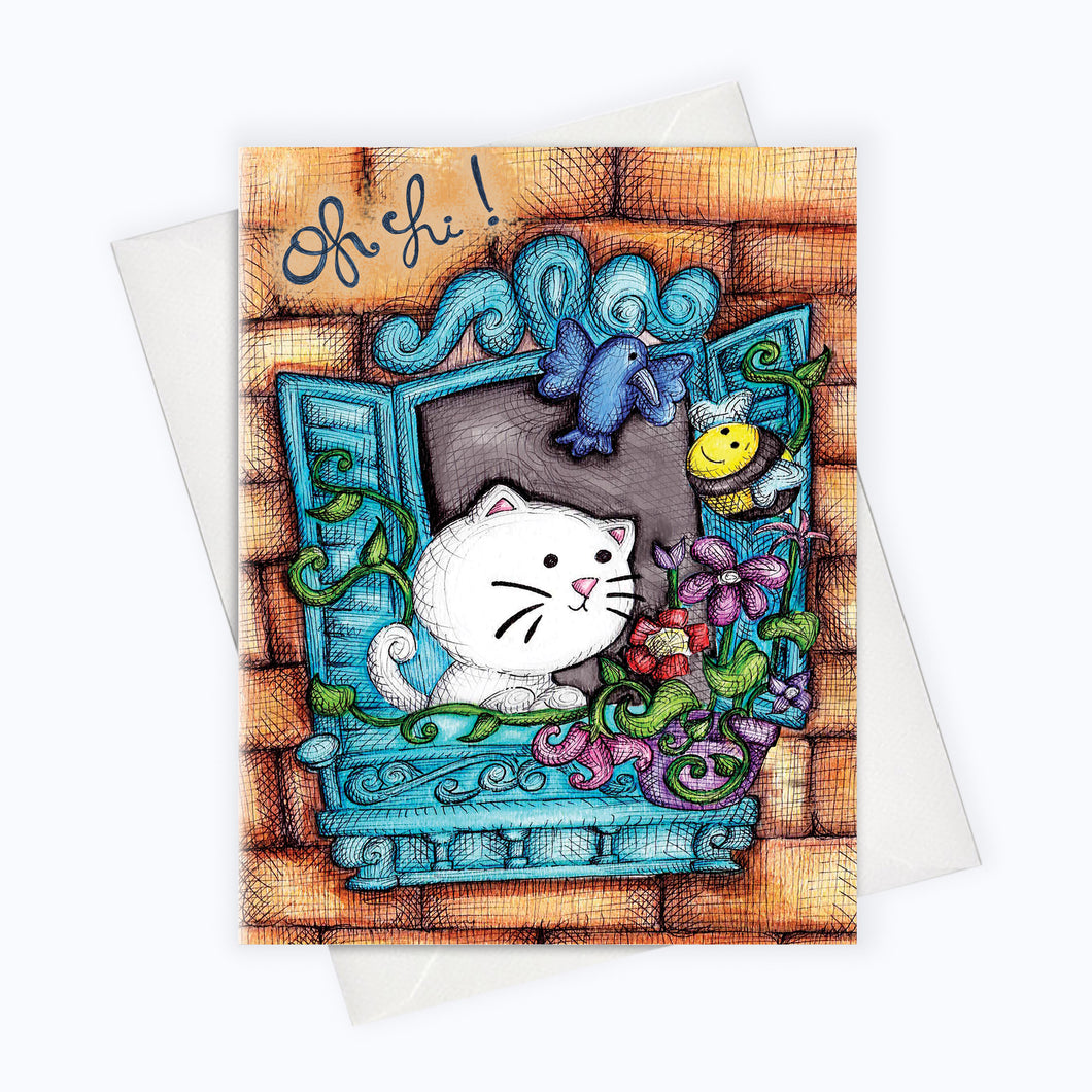 HELLO CAT CARD - Cat Greeting Card - Just Because Card