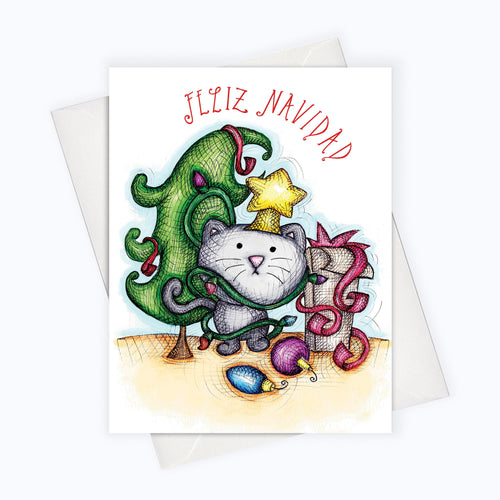 SPANISH HOLIDAY CAT CARD | Tarjetas En Español | CAT HOLIDAY CARD | Feliz Navidad Card | Spanish Christmas Card | Spanish Holiday Card SPanish Card Cat lovers Gatos navideños gatos de navidad