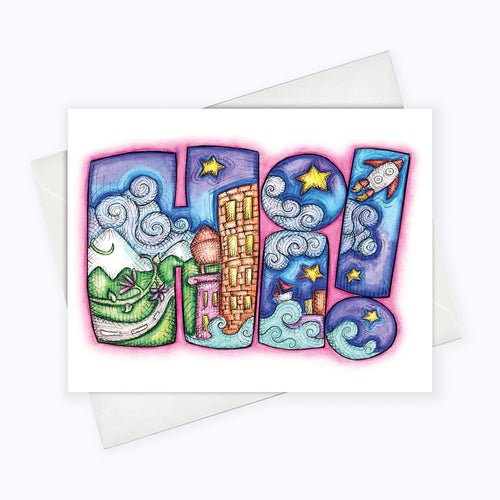Hi illustration Hello greeting card
