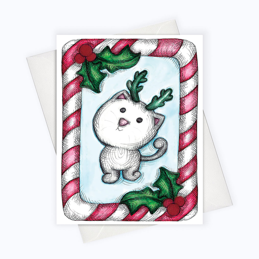 Candy cane cat card cute Holiday card for cat lovers | Christmas Cat | Christmas Card