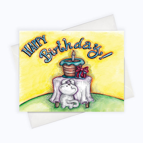 CAT BIRTHDAY CARD - Cat Wants Birthday Cake