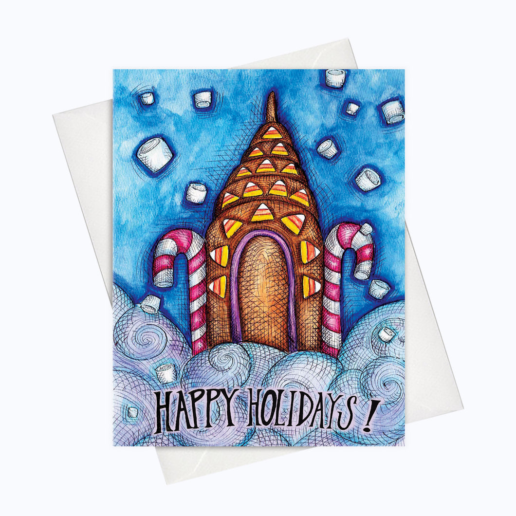 Skyline Holiday Card NYC Skyscrapper Card Chrysler Building Holidays Illustration