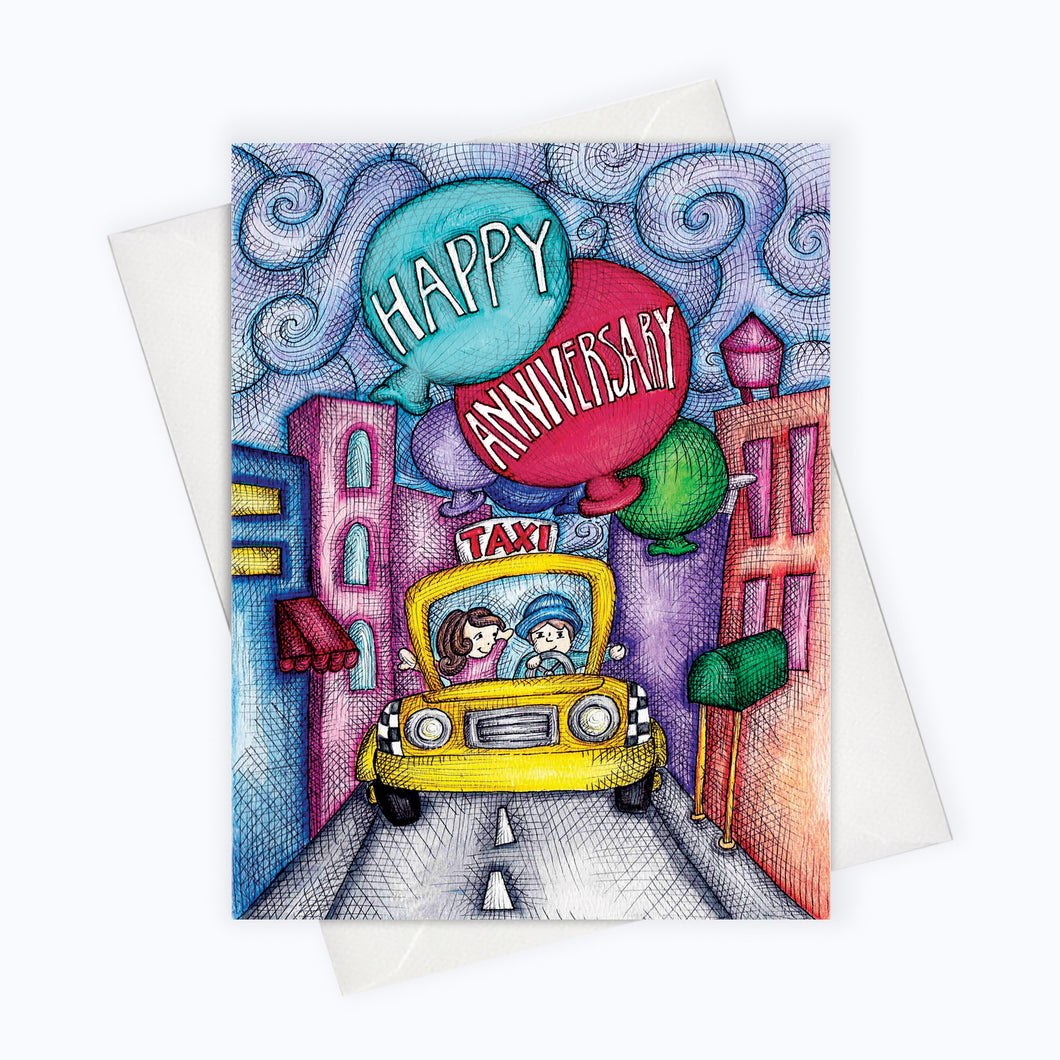 Anniversary card city cab anniversary greeting card