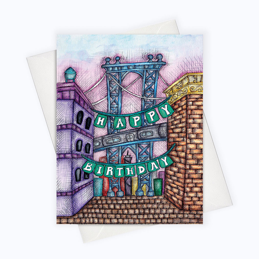 Brooklyn birthday card brooklyn bridge manhattan bridge art