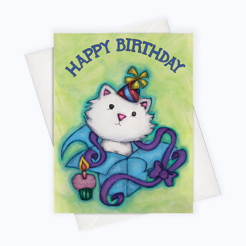 CAT BIRTHDAY CARD - Cat in a Box Birthday Card