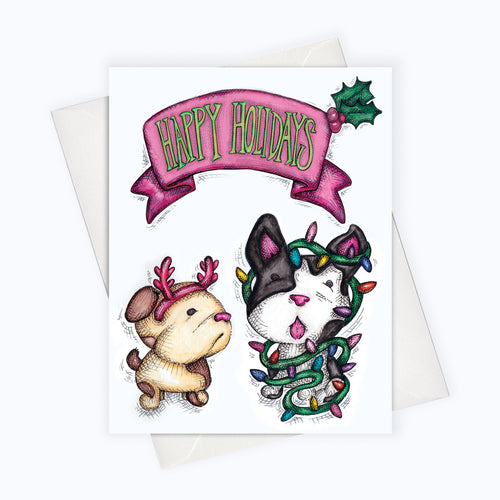 Dog Holiday Card Cute Puppy Holiday Card Dog Lovers Card Dog Lovers Christmas Card