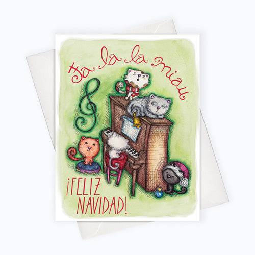 SPANISH HOLIDAY CARD | Cat Holiday Spanish Card | Fa la la Meow | Tarjeta de Navidad