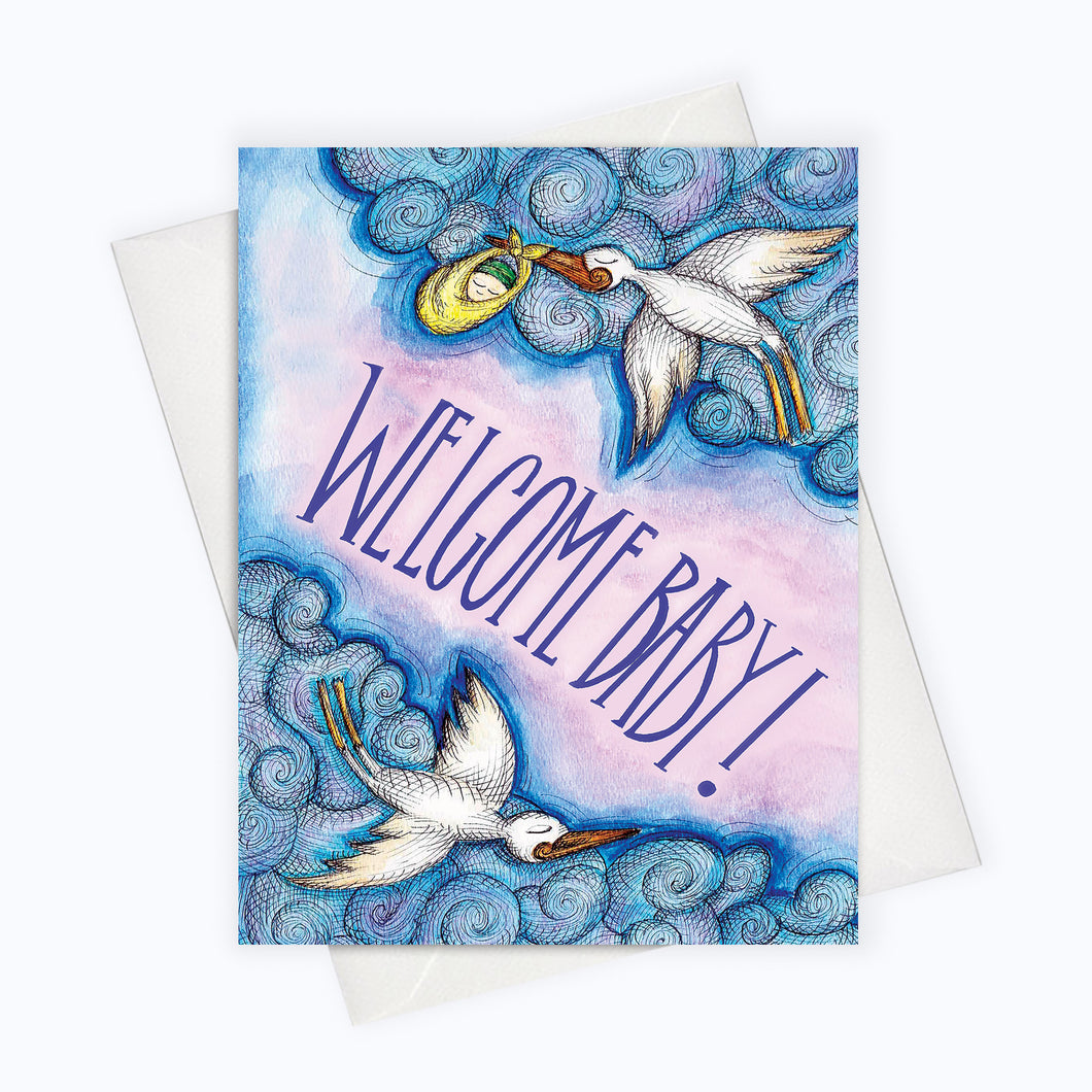 Stork baby card new parents greeting card