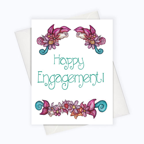 HAPPY ENGAGEMENT CARD | Love Card | Wedding Greeting Card | Engagement Greeting Card | Floral Engagement Card | Wedding Stationery | Cards For The Newly Weds