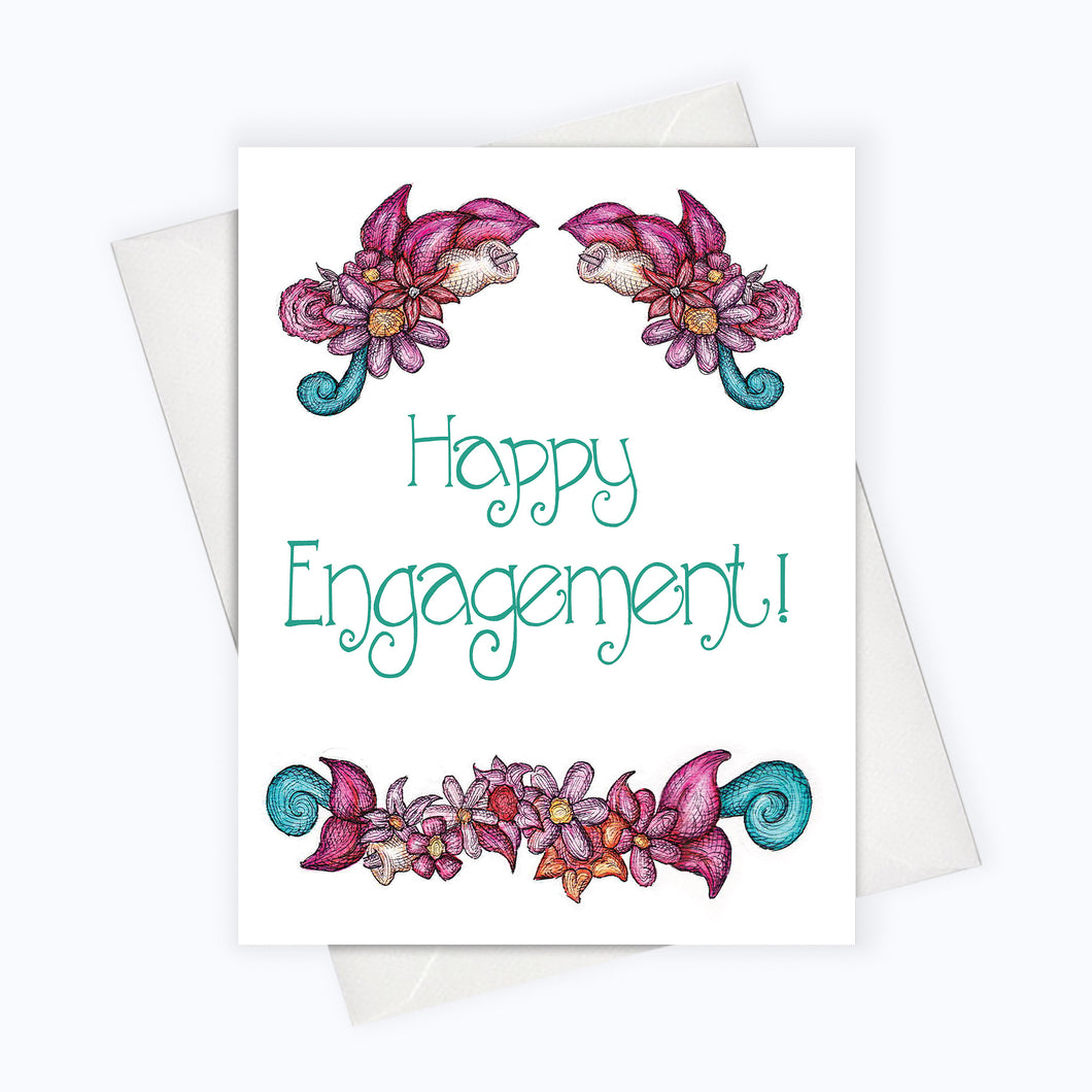 HAPPY ENGAGEMENT CARD  Love Card  Wedding Greeting Card  Engagement  Greeting Card  Floral Engagement Card  Wedding Stationery  Cards For The