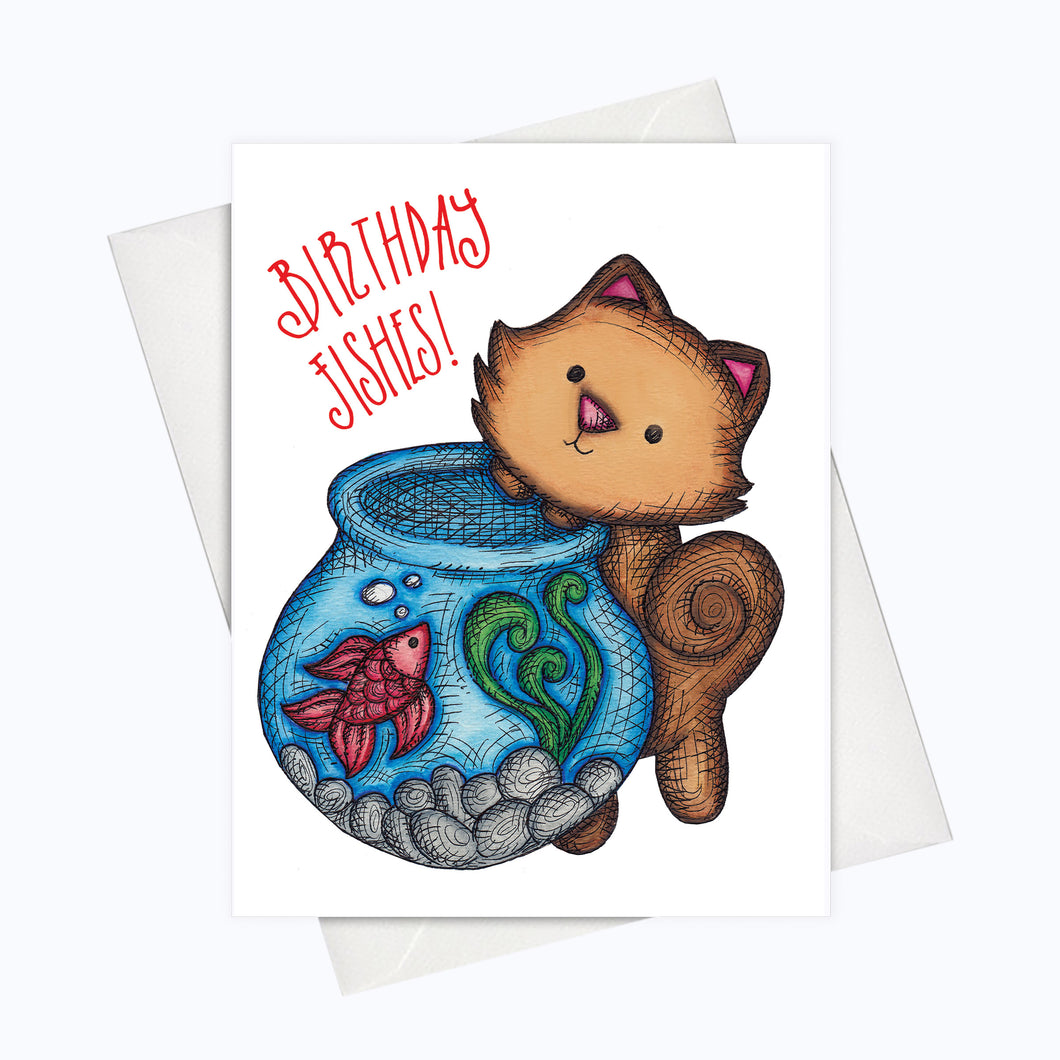 CAT BIRTHDAY CARD - Birthday Fishes Card - Cat Greeting Card