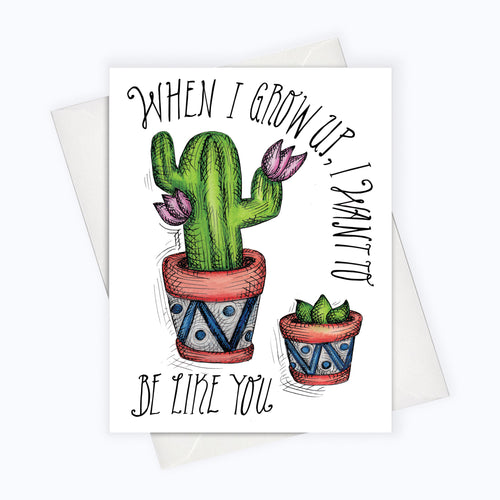 MOTHERS DAY & FATHERS DAY GREETING CARD - Little Plant, big plant card