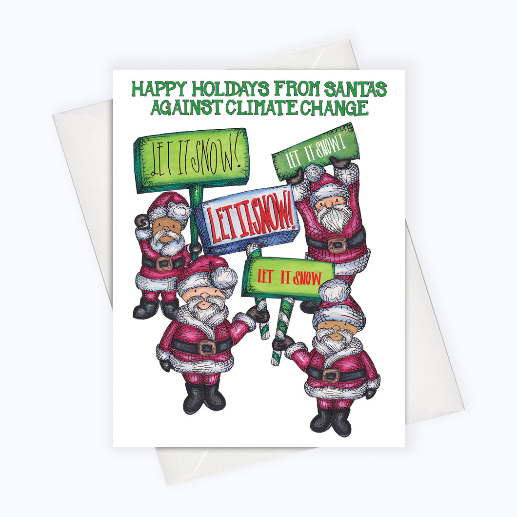 FUNNY HOLIDAY CARD | Let It Snow Card | Santas Against Climate Change | Holiday Greeting Card | Holiday Stationery