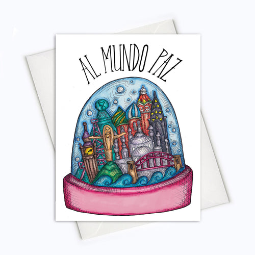 WORLD HOLIDAY CARD - Holiday Spanish Card - Feliz Navidad Card - Al Mundo Paz