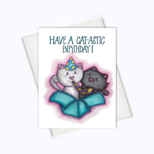 Cat-tastic birthday card cute funny cat birthday card