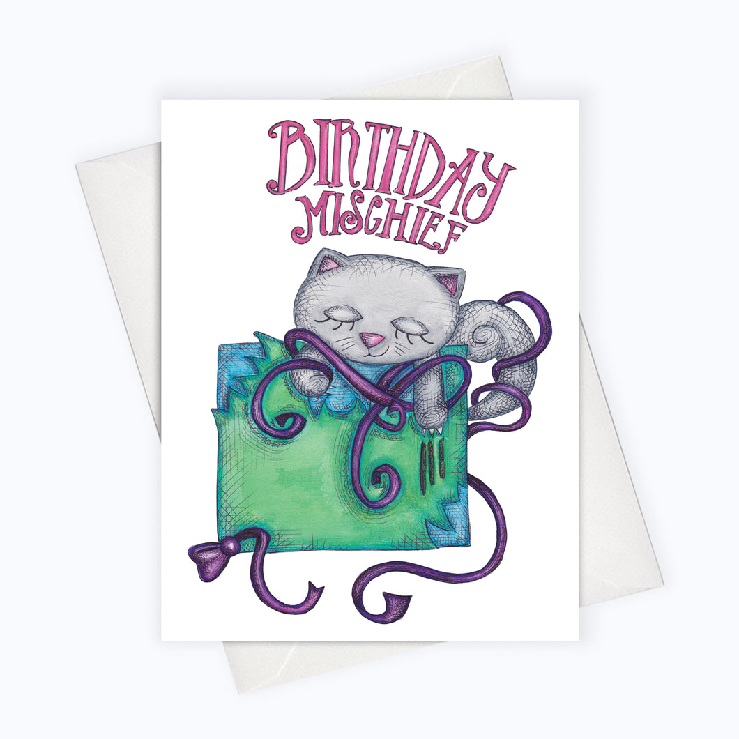 mischief birthday mischievous cat birthday card