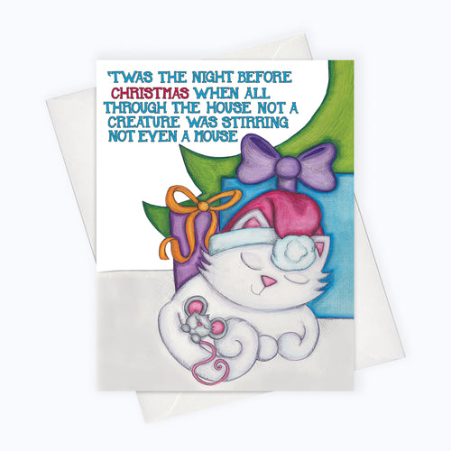 Twas the night before christmas when all through the house not a creature was stirring, not even a mouse, card of cat and mouse classic Holiday greetings