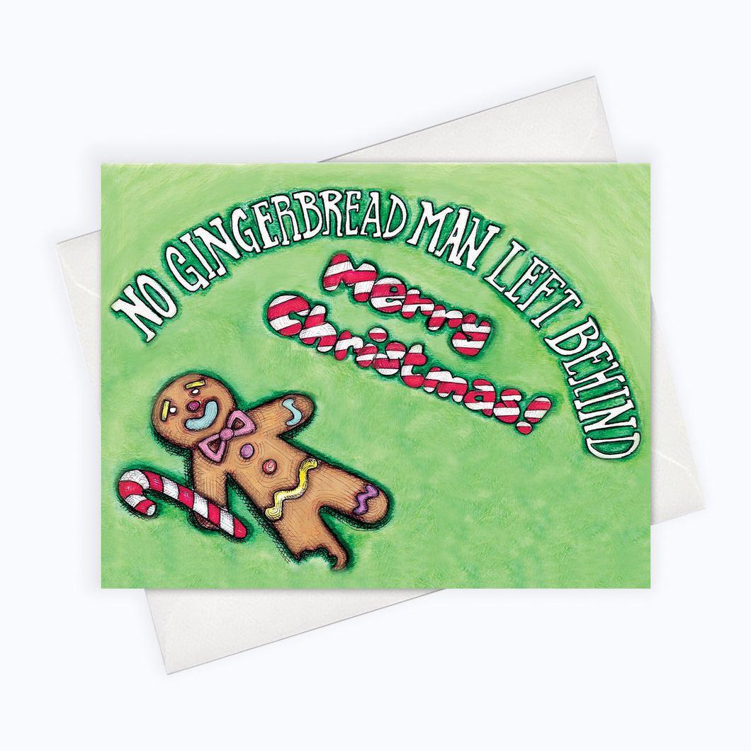Gingerbread man card funny gingerbread man Holiday card Holiday illustration