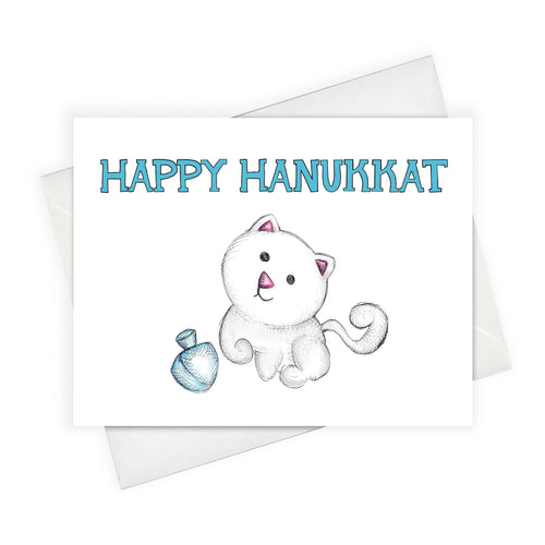 Happy Hanukkah Card Jewish Holidays Jewish Cat Lovers Hannukat Hanukkah cat