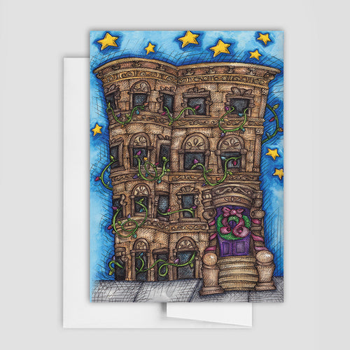BROWNSTONE HOLIDAY CARD | City Holiday Greeting Card | Holiday Stationery | Christmas Card