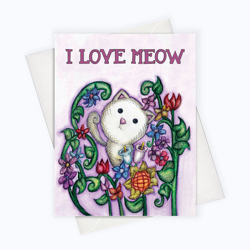 cat and flowers card cat lovers illustration
